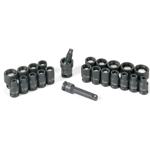 Grey Pneumatic 9723G 23-Piece 1/4 in. Drive 6-Point SAE and Metric Magnetic Impact Socket Set