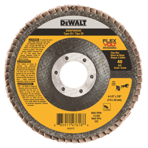 Dewalt DWAFV84540 T29 FLEXVOLT Flap Disc 4-1/2 in. x 7/8 in. 40-Grit