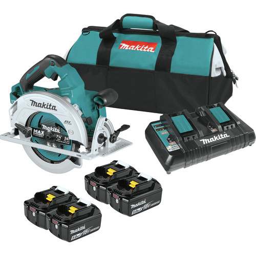 Makita XSH06PT1 18V X2 LXT Lithium-Ion (36V) Brushless Cordless 7-1/4 in. Circular Saw Kit with 4 Batteries (5.0Ah) image number 0