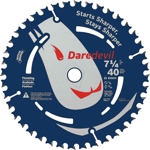 Bosch DCB740 Daredevil 7-1/4 in. 40 Tooth Fine Finish Circular Saw Blade