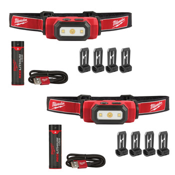 Milwaukee 2111-2111 USB Rechargeable Hard Hat Headlamp 2-Pack Bundle image number 0