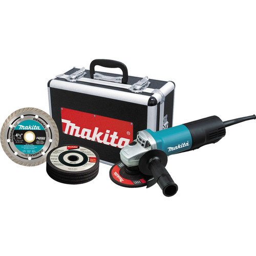 Makita 458-9557PBX1 4-1/2 in. Paddle Switch AC/DC Angle Grinder with Case and Grinding Wheels