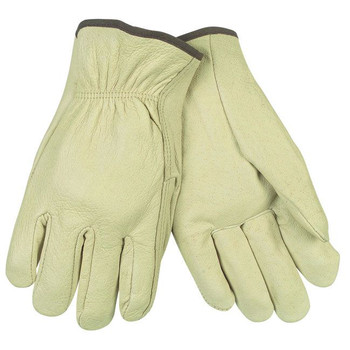 MCR Safety 3400XL 24-Piece Unlined Pigskin Driver Gloves - X-Large, Cream