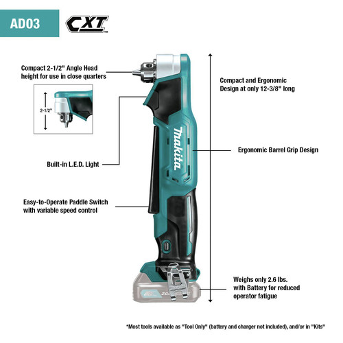 Makita AD03R1 12V max CXT Lithium-Ion 3/8 in. Cordless Right Angle Drill Kit (2 Ah) image number 5