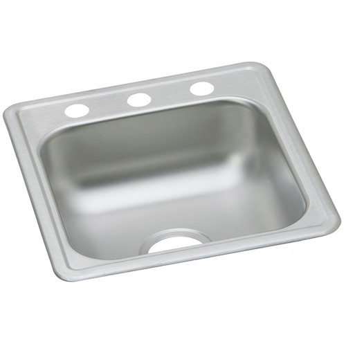 Elkay D117191 Dayton 17 in. x 19 in. x 6-1/8 in., Single Bowl Top Mount Bar Sink (Stainless Steel) image number 0