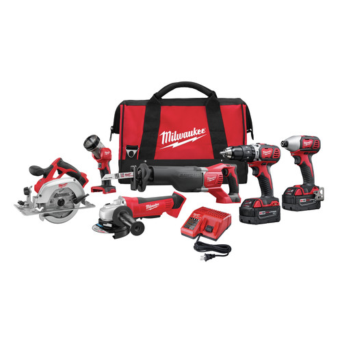 Milwaukee 2696-26 M18 18V Cordless Lithium-Ion 6-Tool Combo Kit image number 0