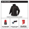 Milwaukee 232B-21L M12 Heated Women's Softshell Jacket Kit - Black, Large image number 1