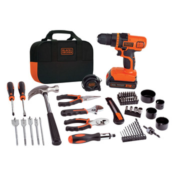 Black & Decker LDX120PK 20V MAX Lithium-Ion 3/8 in. Cordless Drill Driver Kit with 68-Piece Project Set (3 Ah)