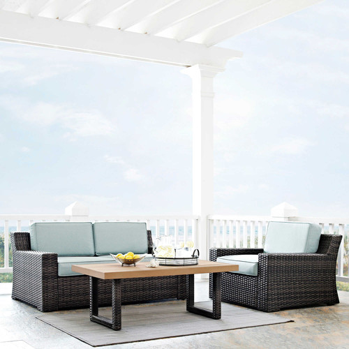 Crosley Furniture KO70101BR Beaufort 3-Piece Rattan Wicker Outdoor Seating Set (Brown/Mist)