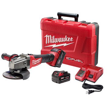 Milwaukee 2781-22 M18 FUEL 4-1/2 in. - 5 in. Slide Switch Grinder with Lock-On and (2) REDLITHIUM Batteries