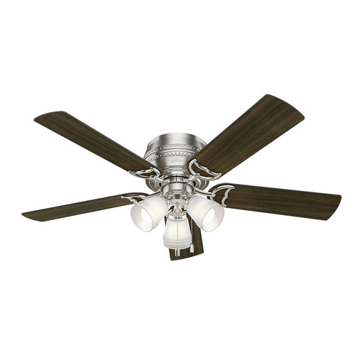 Hunter 53387 52 in. Prim Brushed Nickel Ceiling Fan with Light