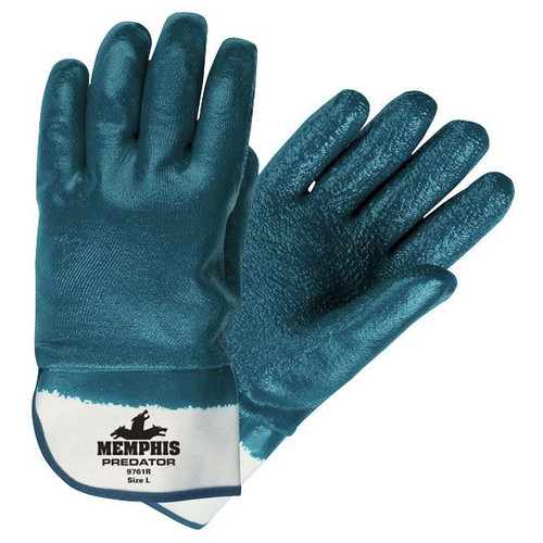 MCR Safety 9761R 24-Piece Predator Premium Nitrile-Coated Gloves - Large, Blue/White image number 0