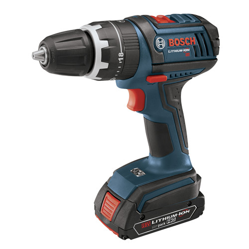 Bosch HDS181-01 18V Cordless Lithium-Ion Compact Tough 1/2 in. Hammer Drill Driver with 2 Fat Pack HC Batteries