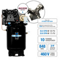 Industrial Air IV9969910 10 HP 460V 120 Gallon Baldor Powered Vertical Commercial Air Compressor image number 1