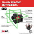 Milwaukee 3632-21 M12 360-Degree 3-Plane Cordless Laser Kit - Green (4 Ah) image number 2
