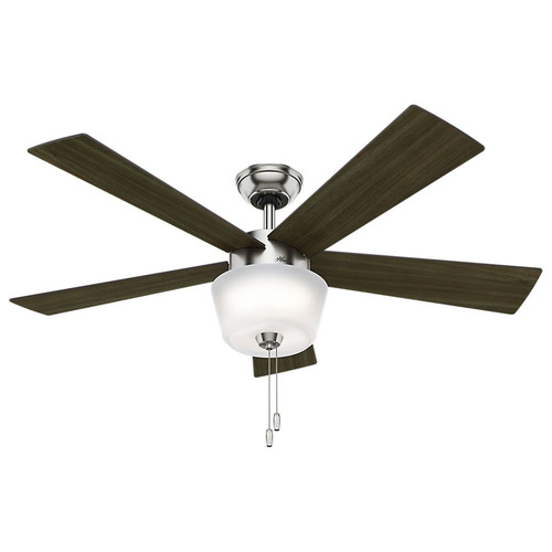 Hunter 59230 52 in. Contemporary Hembree Ceiling Fan with Light (Brushed Nickel)
