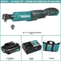 Makita RW01R1 12V max CXT Lithium-Ion Cordless 3/8 in. / 1/4 in. Square Drive Ratchet Kit (2 Ah) image number 1
