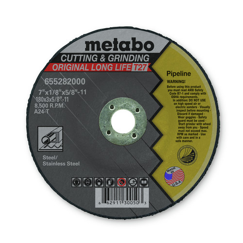Metabo 655282000 7 in. x 1/8 in. A24T Type 27 Pipeline Grinding/Notching/Cutting Wheels (10-Pack) image number 0