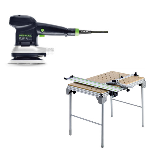 Festool ETS 150/3 EQ 6 in. Random Orbital Finish Sander plus Multi-Function Work Table