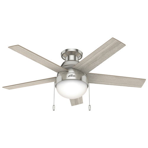 Hunter 50278 46 in. Anslee Brushed Nickel Ceiling Fan with LED Light Kit and Pull Chain image number 0