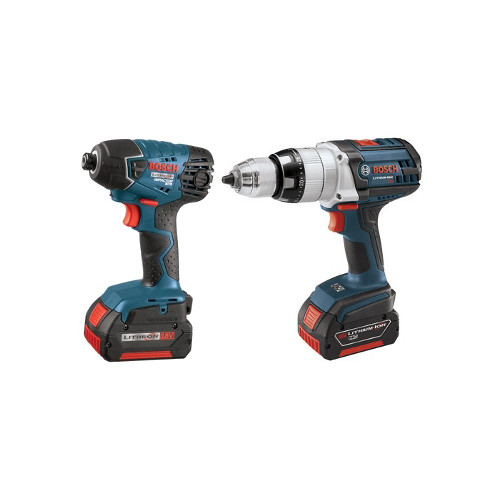 Factory Reconditioned Bosch CLPK221-181-RT 18V Cordless Lithium-Ion 1/2 in. Hammer Drill and Impact Driver Combo Kit