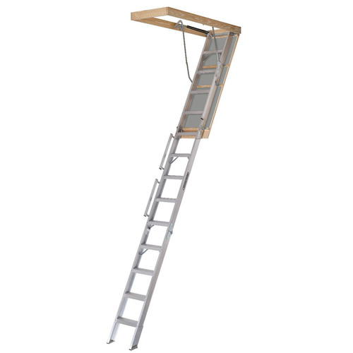 Louisville AL258P Everest 350 lbs. Load Capacity 25-1/2 in. x 63 in. Open Ceiling Aluminum Attic Ladder for 12 ft. Ceiling Heights