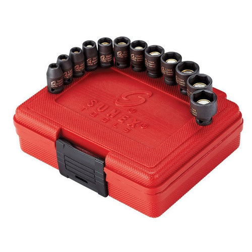 Sunex 1822 12-Piece 1/4 in. Drive Metric Magnetic Impact Socket Set