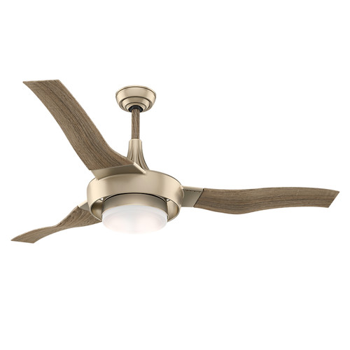 Casablanca 59168 Perseus 64 in. Metallic SunSand Drift Oak Indoor/Outdoor Ceiling Fan with Light and Wall Control