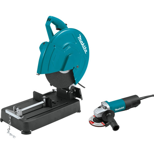 Makita LW1401X2 14 in. Cut-Off Saw with 4-1/2 in. Paddle Switch Angle Grinder