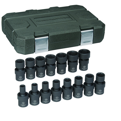 GearWrench 84918N 15-Piece Metric 3/8 in. Drive 6 Point Universal Impact Socket Set