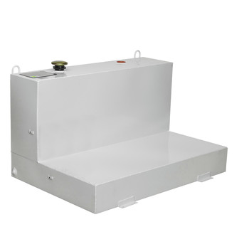JOBOX 487000 86 Gallon Low-Profile L-Shaped Steel Liquid Transfer Tank - White