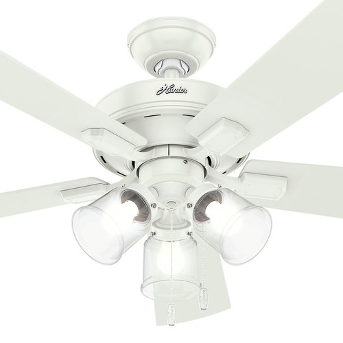 Hunter 54204 52 in. Crestfield Fresh White Ceiling Fan with Light image number 7
