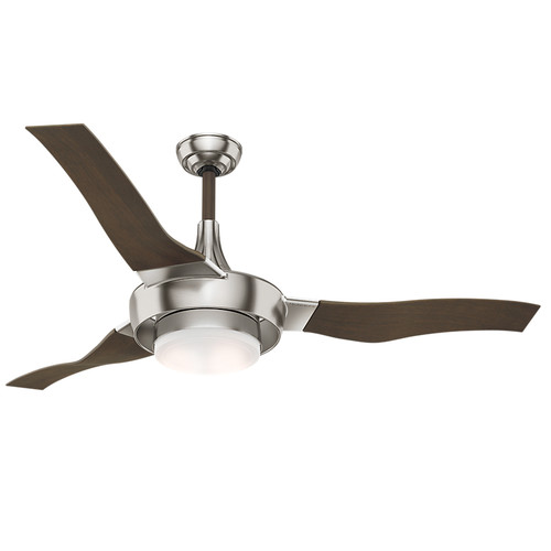 Casablanca 59167 Perseus 64 in. Brushed Nickel Walnut Indoor/Outdoor Ceiling Fan with Light and Wall Control