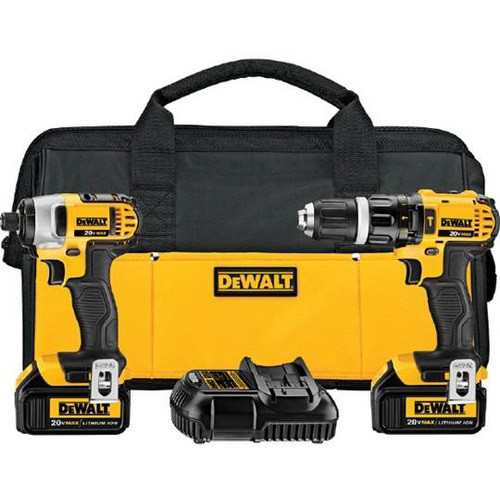 Dewalt DCK285L2 20V MAX Cordless Lithium-Ion 1/2 in. Compact Hammer Drill and Impact Driver Combo Kit image number 0