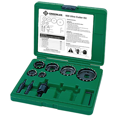 Greenlee 930 10-Piece Ultra Hole Saw Cutter Kit for 1/2 in. to 2 in. Conduit