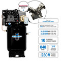 Industrial Air IV9919910 10 HP 230V 120 Gallon Baldor Powered Vertical Commercial Air Compressor image number 1
