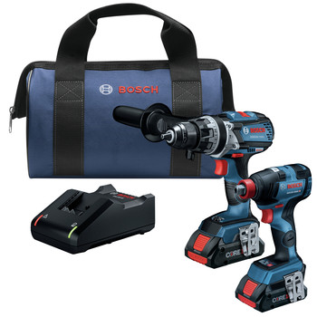 Bosch GXL18V-224B25 18V 2-Tool 1/2 in. Hammer Drill Driver and 2-in-1 Impact Driver Combo Kit with (2) CORE18V 4.0 Ah Lithium-Ion Batteries