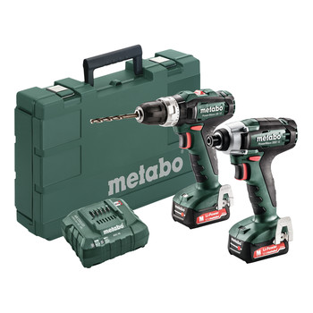 Metabo 685167520 PowerMaxx 12V 2.0 Ah SSD 12 1/4 in. Hex Compact Impact Driver and SB 12 3/8 in. Compact Hammer Drill Driver image number 0