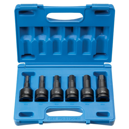 Grey Pneumatic 8196MH 6-Piece 3/4 in. Drive Metric Hex Driver Impact Socket Set