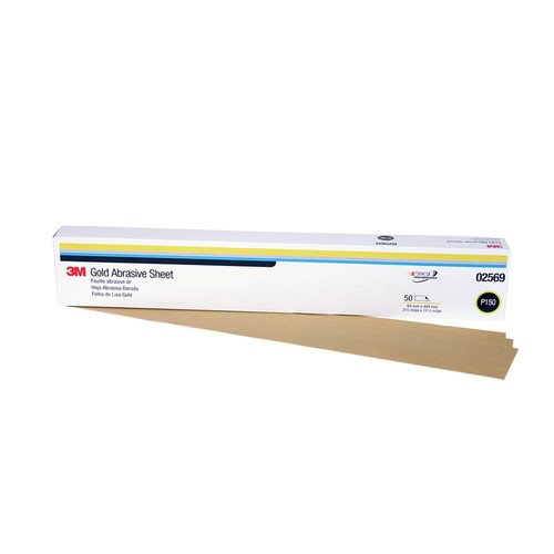 3M 2569 Production Resinite Gold Sheet 2-3/4 in. x 17-1/2 in. P150A (50-Pack) image number 0