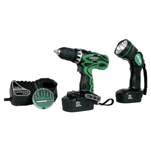 Factory Reconditioned Hitachi DS18DVF3 18V Cordless 1/2 in. Drill Driver Kit with Flashlight