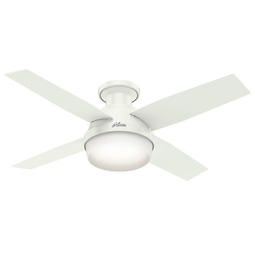 Hunter 59244 44 in. Dempsey Fresh White Ceiling Fan with Light and Remote