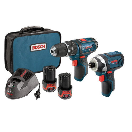 Bosch CLPK241-120 12V Max Lithium-Ion 3/8 in. Hammer Drill & Impact Driver Combo Kit image number 0