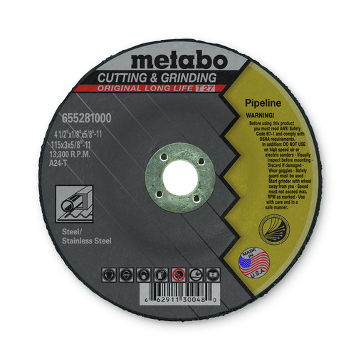 Metabo 655281000-25 4-1/2 in. x 1/8 in. A24T Type 27 Pipeline Grinding/Notching/Cutting Wheels (25-Pack)