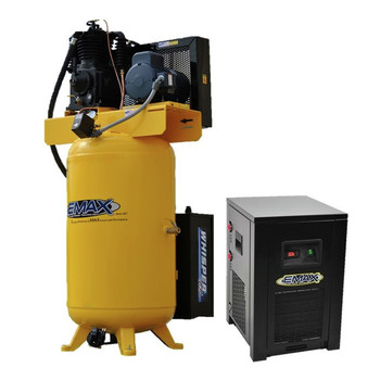 EMAX ESP05V080I3PK 5 HP 80 Gallon Oil-Lube Stationary Air Compressor with 115V 4 Amp Refrigerated Corded Air Dryer Bundle