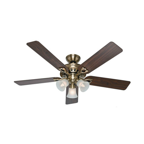 Hunter 53115 52 in. Sontera Antique Brass Ceiling Fan with Light with Handheld Remote