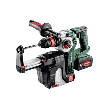 Metabo 600211950 KHA 18 LTX BL 24 Quick 18V 1 in. SDS-Plus Brushless Lithium-Ion Rotary Hammer with HEPA Vacuum Attachment & Batteries image number 1