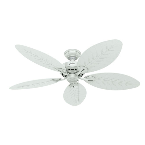 Hunter 54097 Bayview 54 in. White Wicker ETL Damp Rated Outdoor Ceiling Fan