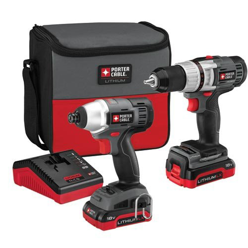 Factory Reconditioned Porter-Cable PCCK410L2R 18V Cordless Lithium-Ion 1/2 in. Drill Driver and Impact Driver Combo Kit
