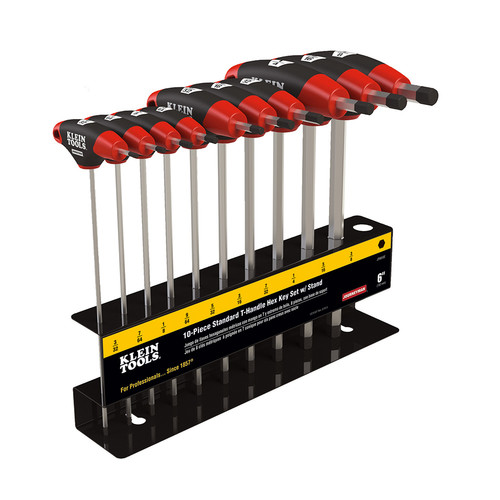Klein Tools JTH610E 10-Piece SAE 6 in. Blade T-Handle Hex Key Set with Stand image number 0